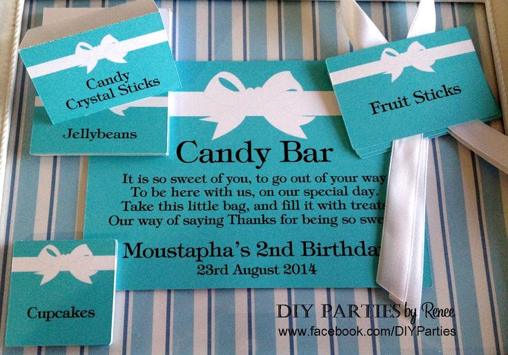 Table sign, tent cards & candy buffet jar labels - Tiffany theme.  Find us on Facebook: www.facebook.com/DIYParties