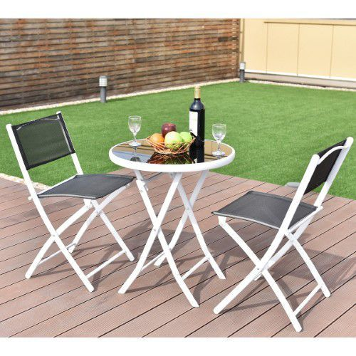 Costway 3 Stucke Klapp Bistro Tisch Stuhle Set Stuhle Garten