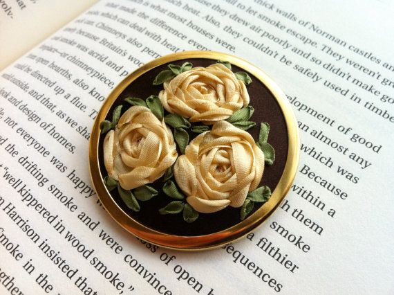 SALE Hand Embroidered Rose Brooch  Silk by BeanTownEmbroidery