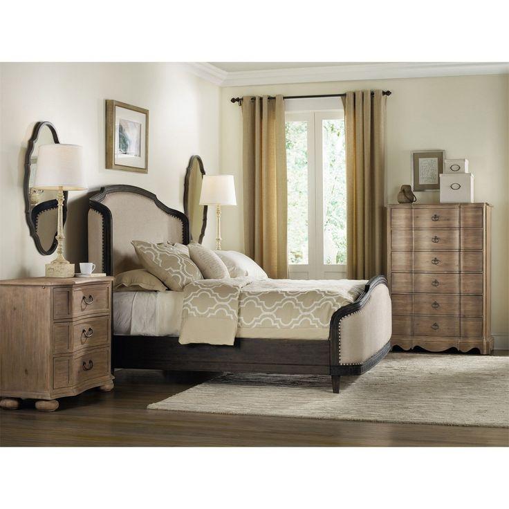 Hooker Furniture 5280-90850 Corsica Queen Upholstered Shelter Bed in Dark Wood