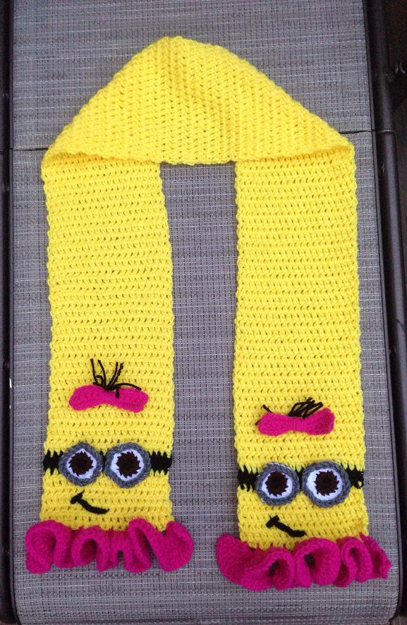Crochet Girl Pink and Yellow Minion Scarf With Ruffles and Bow Made to Order on Etsy, $27.00