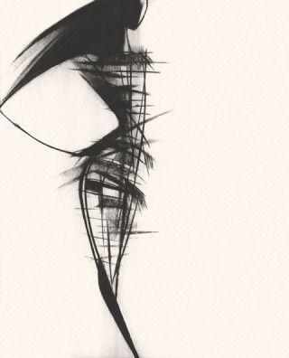 Fashion Sketch - abstract fashion illustration for Herve Leger // Tobie Giddio