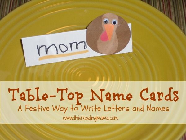 Toddler Approved: Table-Top Name Cards- A Festive Way to Write Letters and Names {via This Reading Mama}