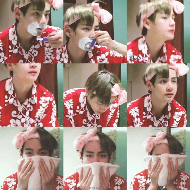 Shaving while wearing that cute bow... the things you do to me Kim Taehyung >o<