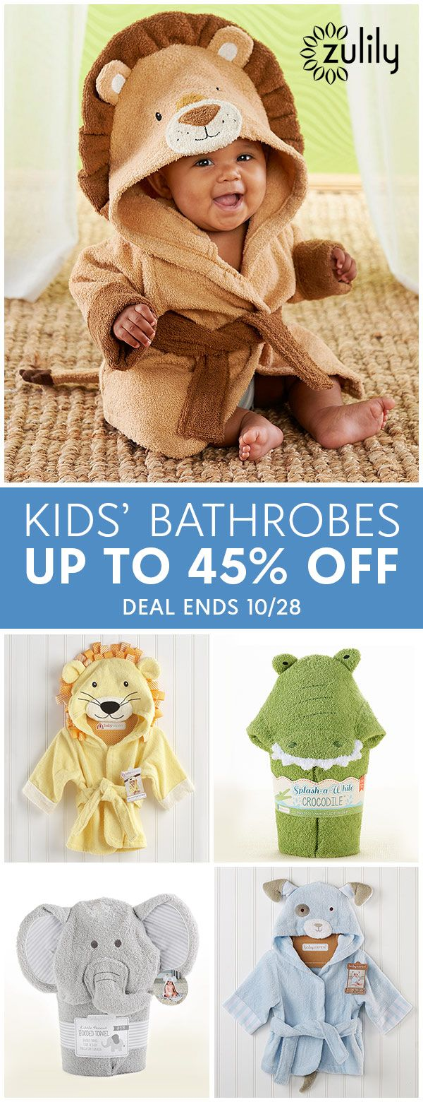 Sign up to shop kids' and baby bathrobes, up to 45% off. With an emphasis on charming characters and a dash of whimsy, Baby Aspen's boutique-quality ensembles and plushes are sure to become nursery favorites. Their gift-ready treasures are full of fun and perfect for sharing! These cozy robes are topped with  adorable animal faces to add fun to Baby's bath time routine. Deal ends 10/28.