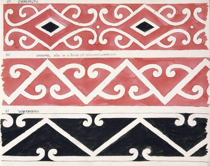 Godber, Albert Percy, 1876-1949 :[Drawings of Maori rafter patterns]. 59. Ohinemutu; 60. Original also on a house at Whakarewarewa; 61. Waitahanui. [1939-1947].
