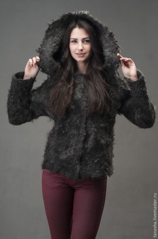 """Купить Валяная куртка с капюшоном """"Серебряный иней"""" двусторонняя - куртка, куртка женская, валяная куртка"""