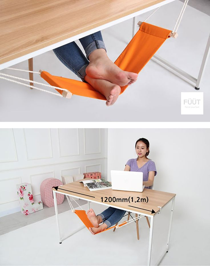 這個有中我的需求。 Under-desk hammock for your feet — and cats in the house - from Füüt