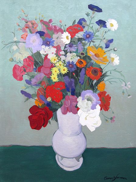 'Bouquet de Fleurs' Oil on Canvas: 73 x 54 cm Signed by  Clement Serveau (1886 – 1972)