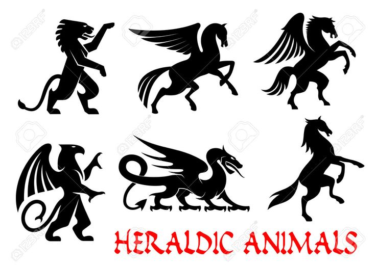 Heraldic Animals Icons. Pegasus, Griffin, Dragon, Lion, Horse,.. Royalty Free Cliparts, Vectors, And Stock Illustration. Image 61439647.