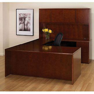 U Desk With Bow Top And Hutch Large Deskbow Topscredenzaoffice Desks Cherrybridgelarge