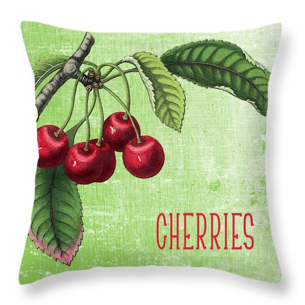 Cherries Throw Pillow by Scarebaby Design