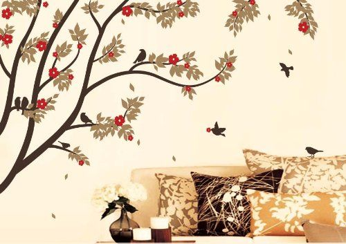 Exceptional X Large Contemporary Trees Colorful Leaves And Birds Wall Sticker Decal Up  To 6 Feet Price