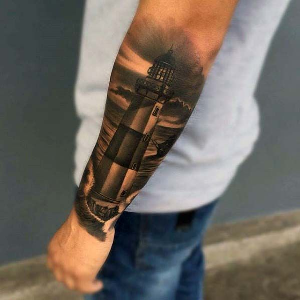 Outer Forearm Badass Male Lighthouse Shaded Black And Grey Ink Tattoos