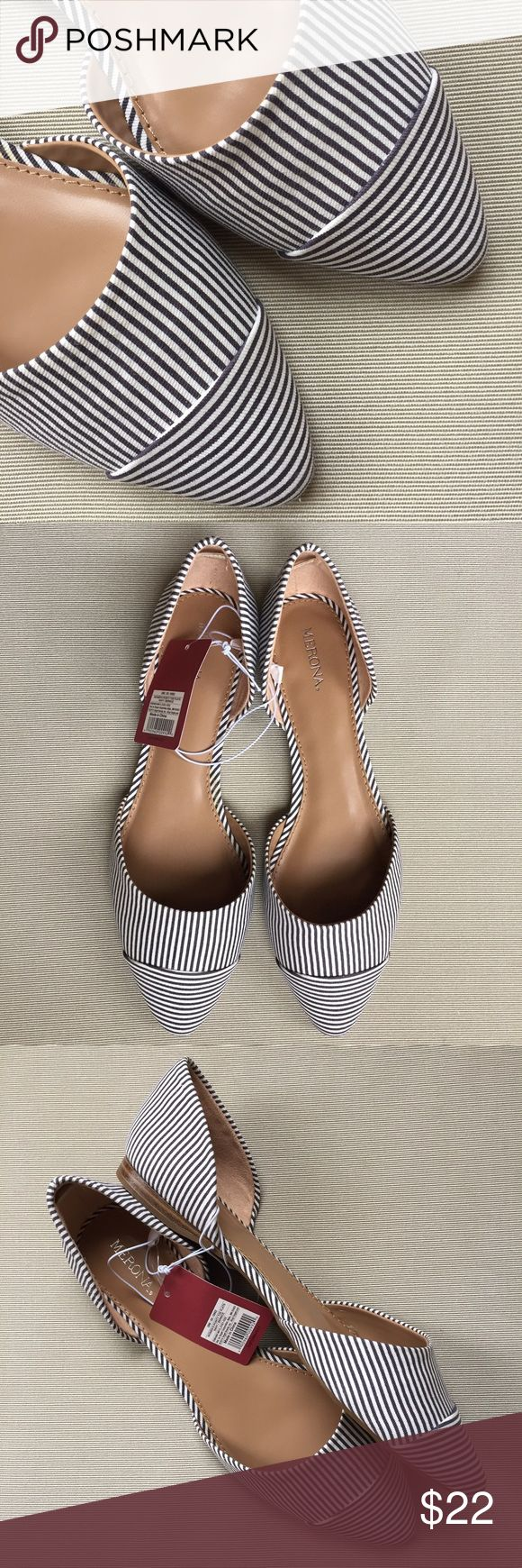 merona • stripe d'osray pointed toe flats NWT • new in box • nautical stripe • navy and white • slip-on d'orsay ballet flat • pointed toe • no trades Merona Shoes Flats & Loafers