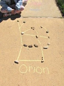 Constellation art with rocks and sidewalk chalk. LOVE. paint the rocks with glow-in-the-dark paint! Summer night star party anyone?