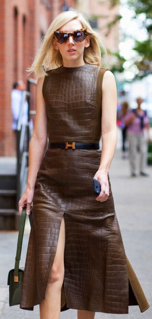 Brown leather Dress | Work Chic.