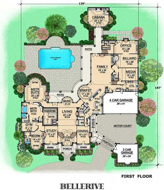 Bellerive house plan first floor plan floor plans for Huge house floor plans