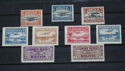 Stamp Pickers Bolivia 1924-32 Classic Air Post MNH Key Values Lot x 9 Stamps
