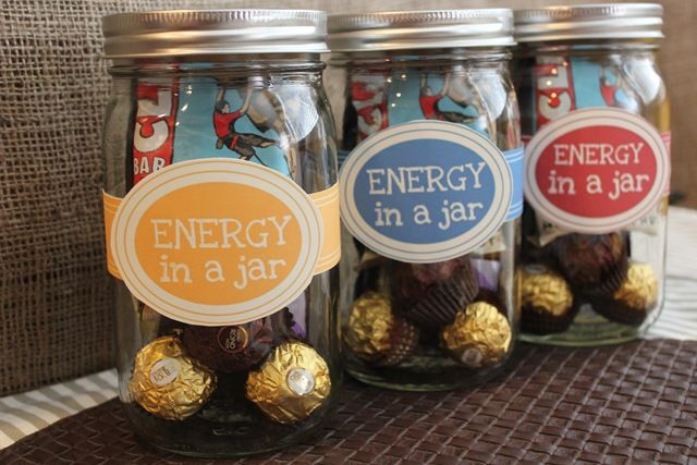 Cool idea for a party favor, or a little pick-me-up gift for a friend. Energy in a Jar, by Healthy Coconut.