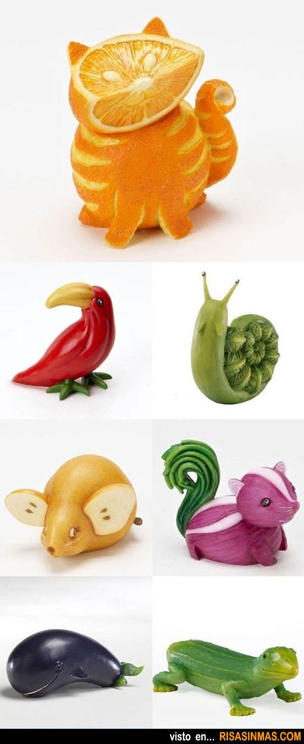 Animales hechos con frutas y verduras.