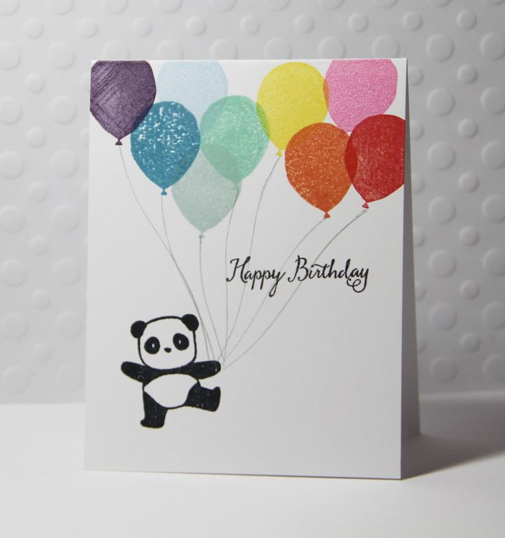 3621 best craft ideas birthday cards images on pinterest handmade happy birthday card with a panda holding many colorful balloons by amusing michelle bookmarktalkfo Gallery