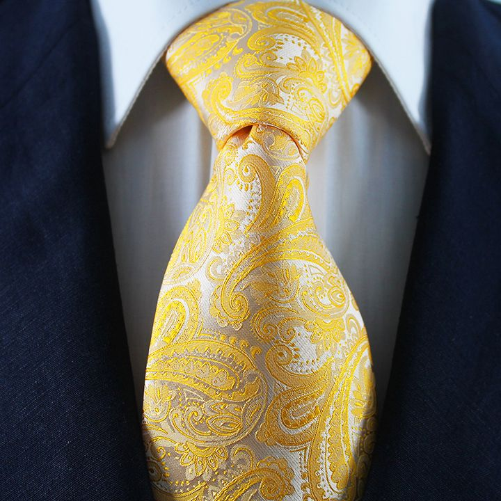 Yellow Gold Paisley Neckties / Formal Business - Wedding Neckties