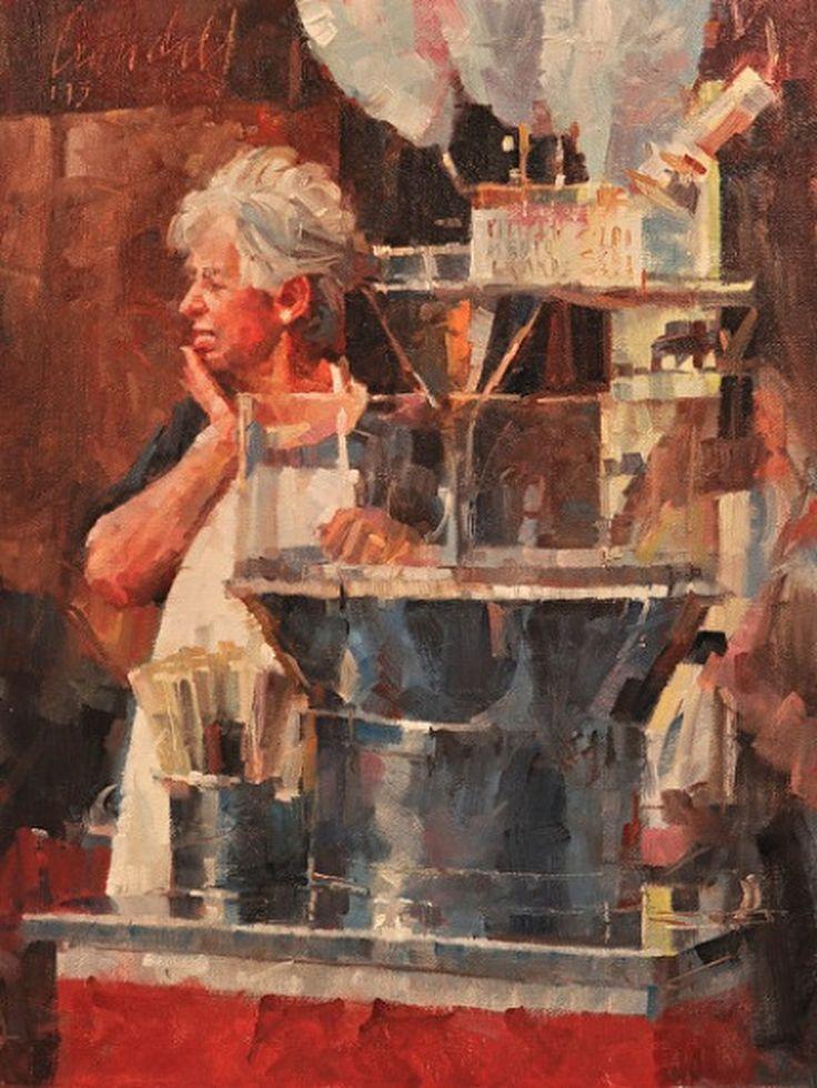 James Crandall painting, Zucchero Filato (Cotton Candy), 16x12