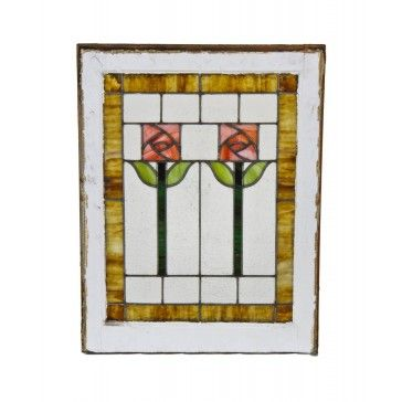 Original And Intact C American Arts Crafts Style Interior Residential Bungalow Stained Glass Window With Abstract Rose Design Motif