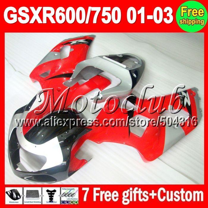 Красный серебро 7 подарки + капот для SUZUKI K1 01 02 03 GSXR750 GSXR600 красный черный MC2A21 GSXR 600 750 GSX R600 2001 2002 2003 зализа