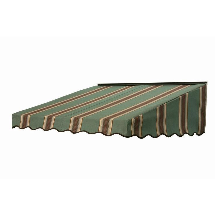 NuImage Awnings 6 ft. 2700 Series Fabric Door Canopy (19 in. H x 47 in. D) in Forest Vintage Bar Stripe, Green