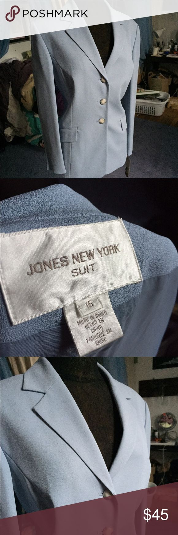 Powder Blue Blazer A powder blue power suit new with tags. Pretty blue buttons and full length sleeves. Jones New York Jackets & Coats Blazers