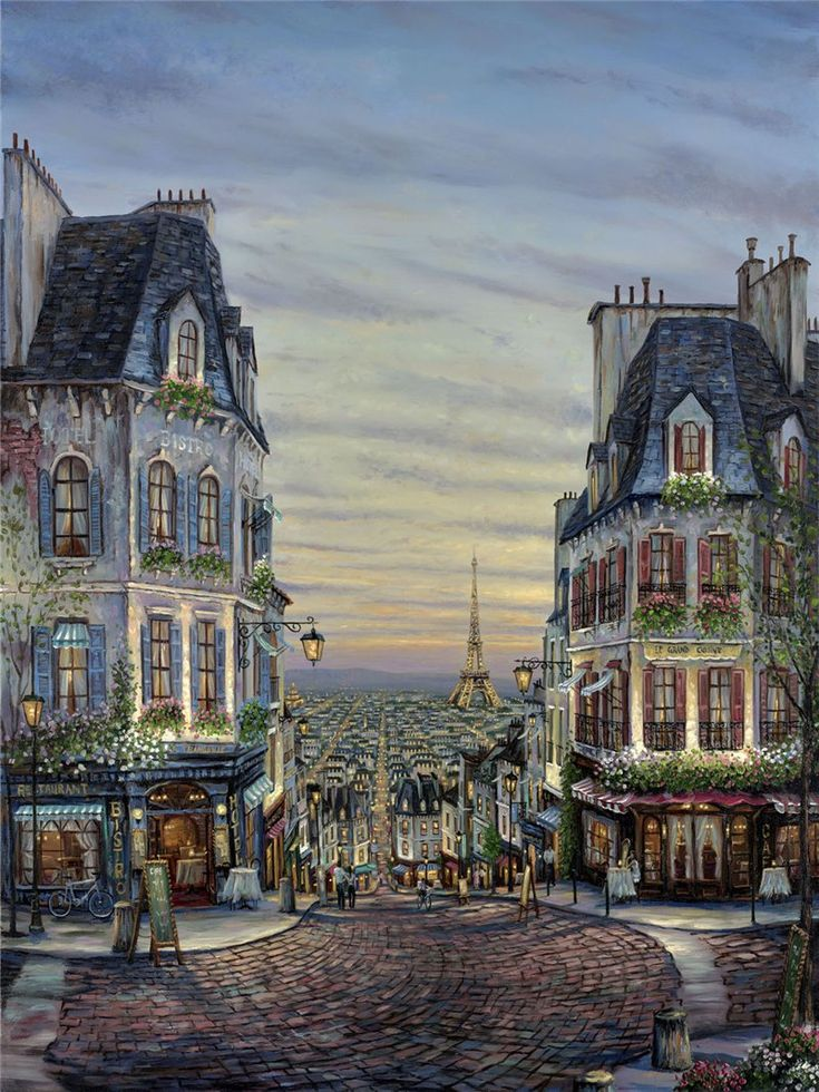 A Paris painting by Robert Finale, title unknown. Gah! The bistro! The cobblestones! The sky! Makes you want to gobble a million pastries and drink a gallon of café au lait! You'd come away round, but you'd be happy. :p