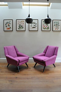 Stunning pair of 50's vintage armchairs Vintage 60's 70's Danish interest chairs