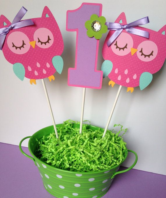 3 Owl Birthday Party - Centerpiece Sticks in Pink, Purple, Teal and Green
