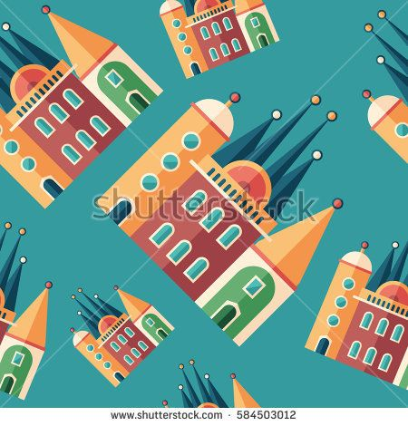 Fairy tale castle flat icon seamless pattern. #buildingpattern #vectorpattern #patterndesign #seamlesspattern