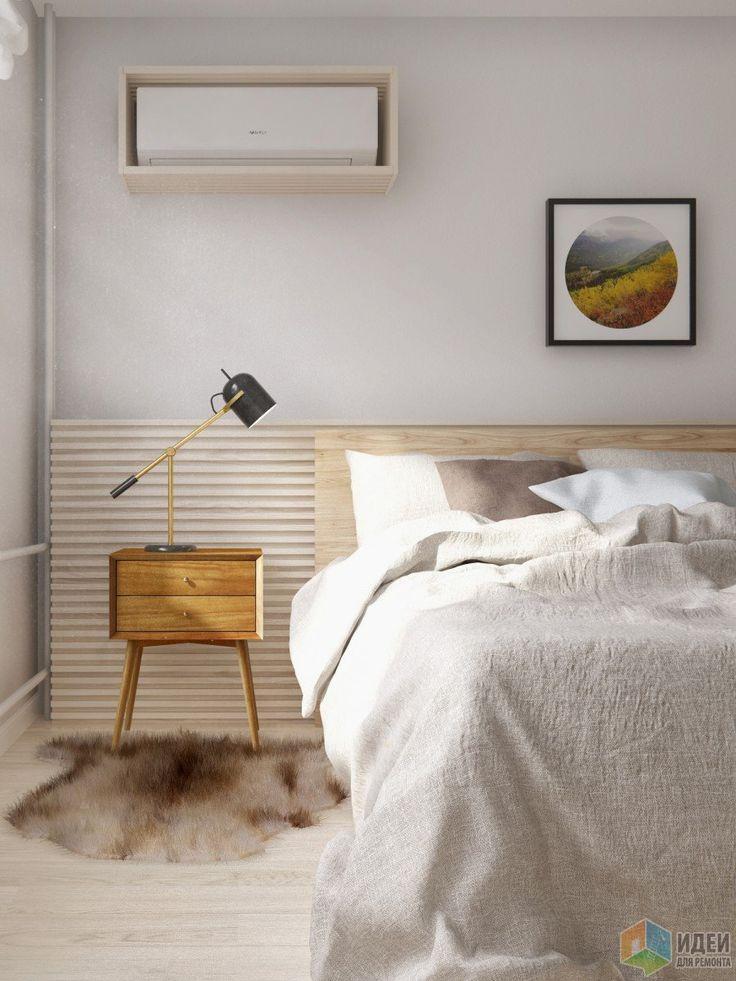 Интерьер в скандинавском стиле, светлая спальня фото
