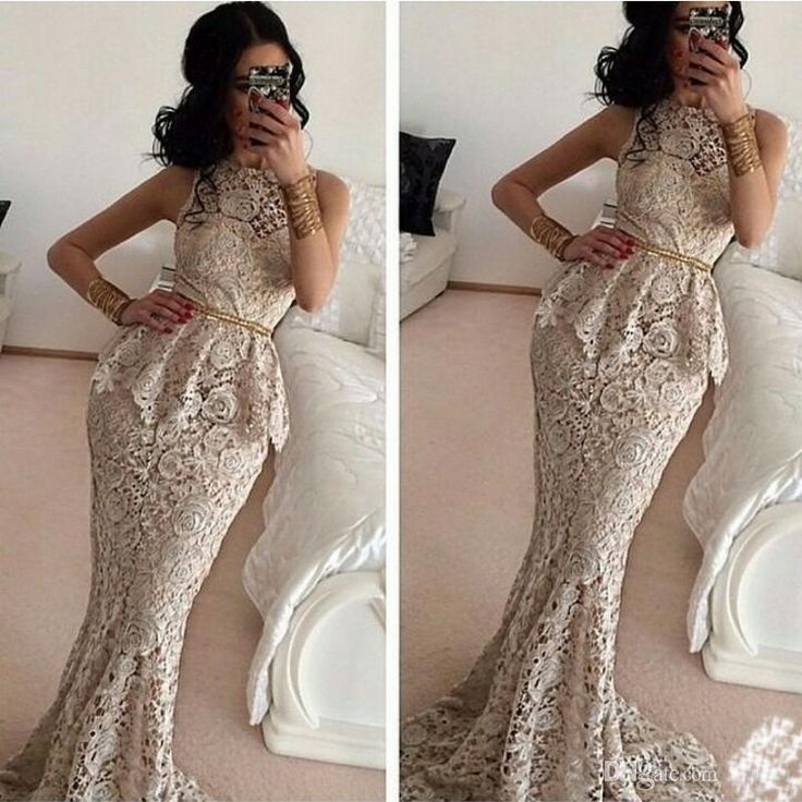Plus Size Evening Dresses Cheap 2015 New Ivory Lace Evening Dresses With Gold Sequins Sash Belt Peplum Mermaid Trumpet Prom Party Gowns Evening Dress Designer From Bestoffers, $129.01| Dhgate.Com
