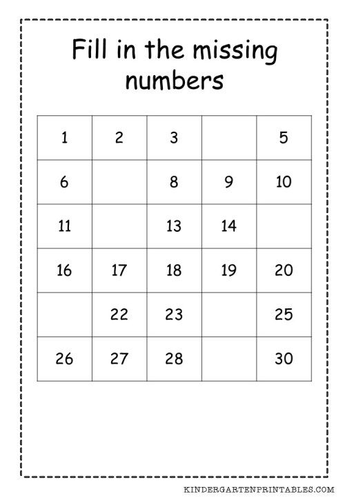 fill in the missing numbers 1-30 worksheets | Sentences ...