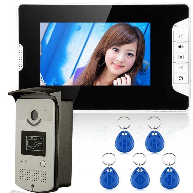 """送料無料7 """"lcd有線ビデオドア電話インターホン+ cmosナイトビジョンカメラ付きrfidドアアクセス制御システム"""