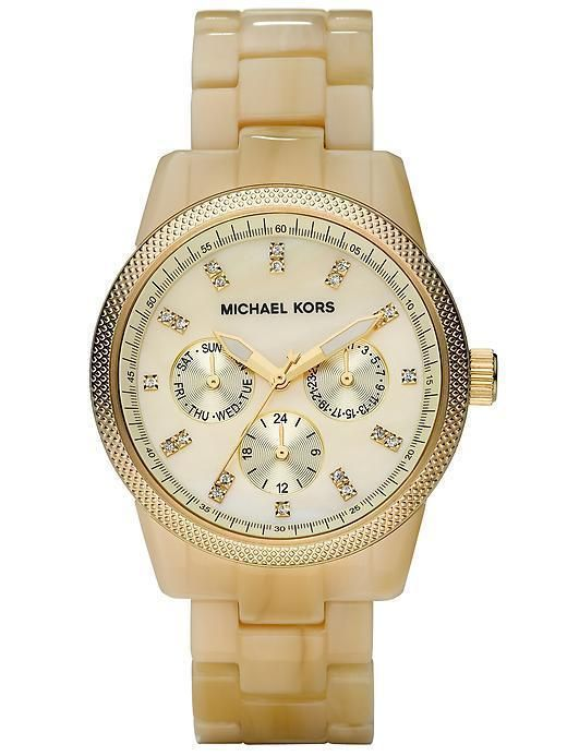 Michael Kors Ritz Acrylic horn chronograph watch Water resistant up to 100 meters Removeable links Single deployant buckle closure Case diameter: 38mm Imported Find your perfect fit (PDF) More Details