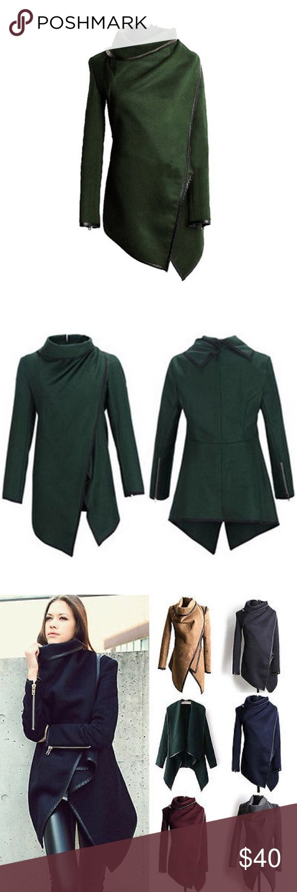 SALE❄️Green High Neck Waterfall Wrap w/Black Trim Army Green High Neck Waterfall Wrap w/Black Trim Cotton Blend, hip length, asymmetrical jacket. Can be worn multiple ways. Also available in Grey, Black, Camel, Wine/Burgundy. **Please see size chart for measurements as these tend to run smaller than typical US sizes. There may be a 2 to 3% difference according to manual measurement. ** Please don't hesitate to ask if you have any questions!! Jackets & Coats