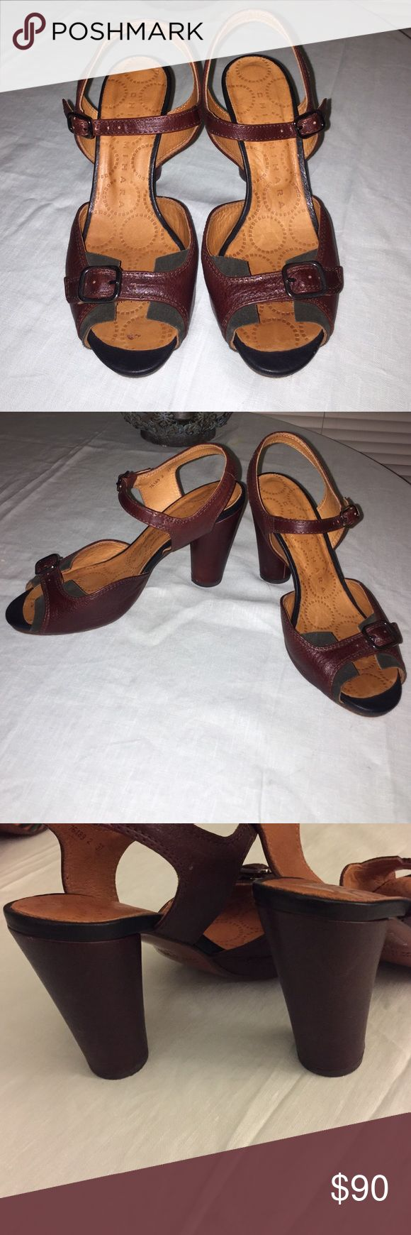 SALE! Chie Mihara heels Chie Mihara circle block heels. Burgundy leather with dark green suede detail by the toe. Very minimal wear. Great fall shoe! Size 37. Anthropologie Shoes Heels
