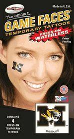 Missouri Mizzou Tigers Game Faces Waterless Temporary Tattoos - Set of 4 $3.25