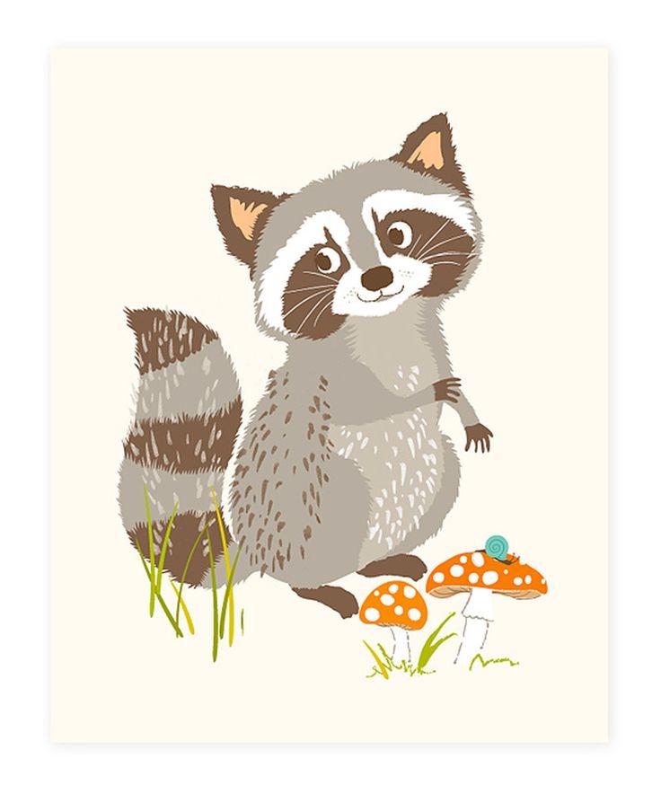 Sea Urchin Studio Woodland Raccoon Print by Sea Urchin Studio #zulily #zulilyfinds