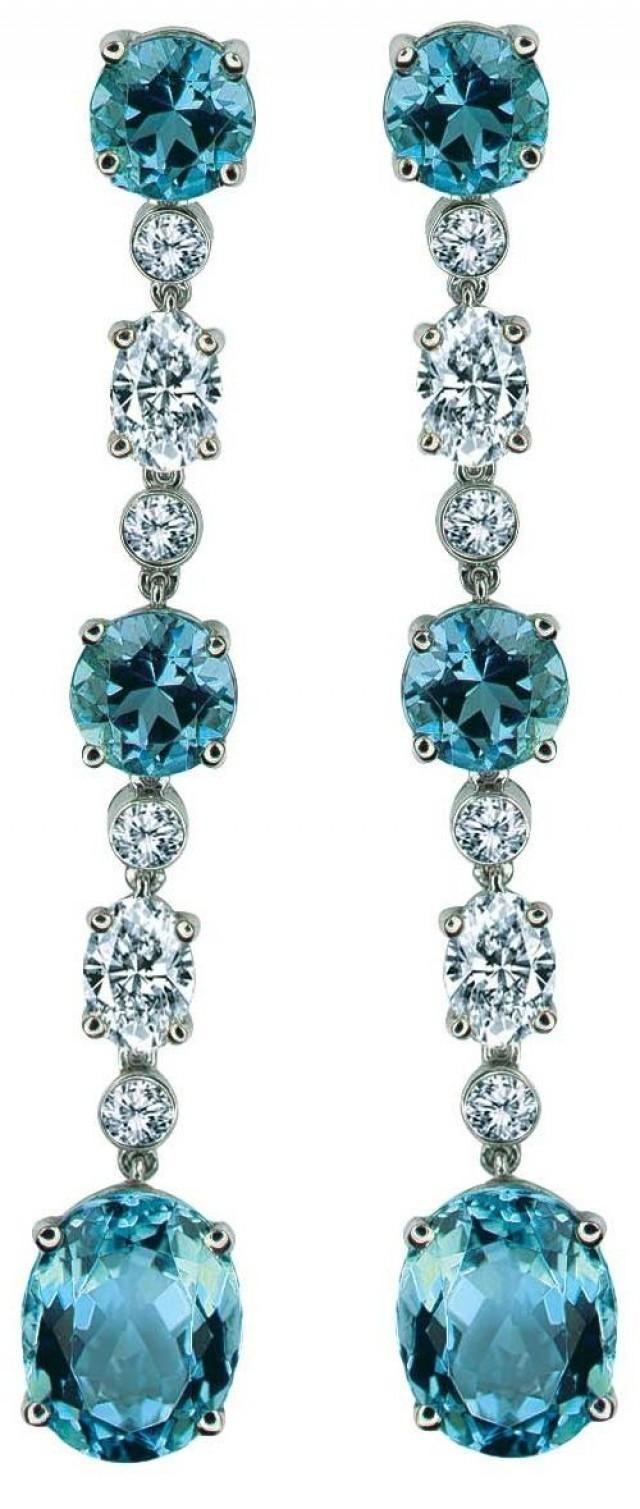 Aquamarine and Diamond Earrings by Gumuchian, via cijintl