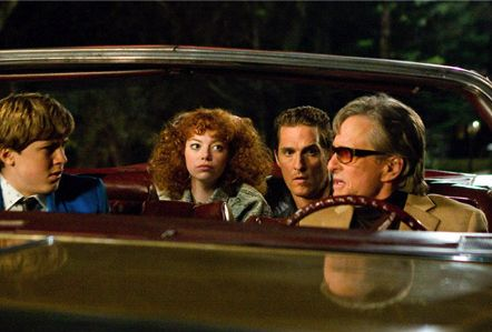 Michael Douglas, Matthew McConaughey, Emma Stone, and Devin Brochu from Ghosts of Girlfriends Past.