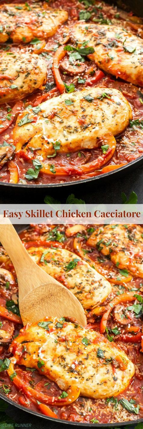 Easy Skillet Chicken Cacciatore | One pan and 30 minutes are all you need to make this hearty, healthy and delicious Italian chicken cacciatore!