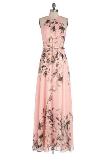 Fete of Florists Dress - Woven, Long, Pink, Floral, Belted, Daytime Party, Maxi, Sleeveless, Better, Pastel, Grey, Prom
