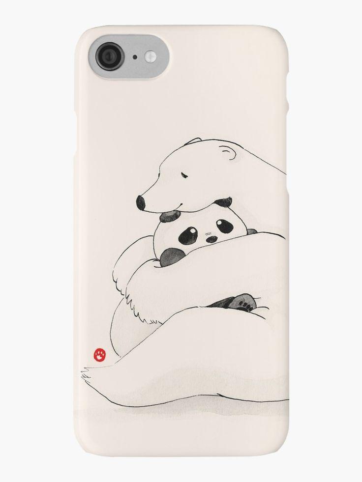 """Panda y oso polar que se abrazan cariñosamente. El primer dibujo de webcomic """"* Panda y Polar Bear *"""": http: //pandaandpolarbear.com/ Bienvenido a nuestra """"página de Facebook"""": http: //www.facebook.com/PandaAndPolarBear para actualizaciones más lindas! • Also buy this artwork on phone cases, apparel, stickers y more."""
